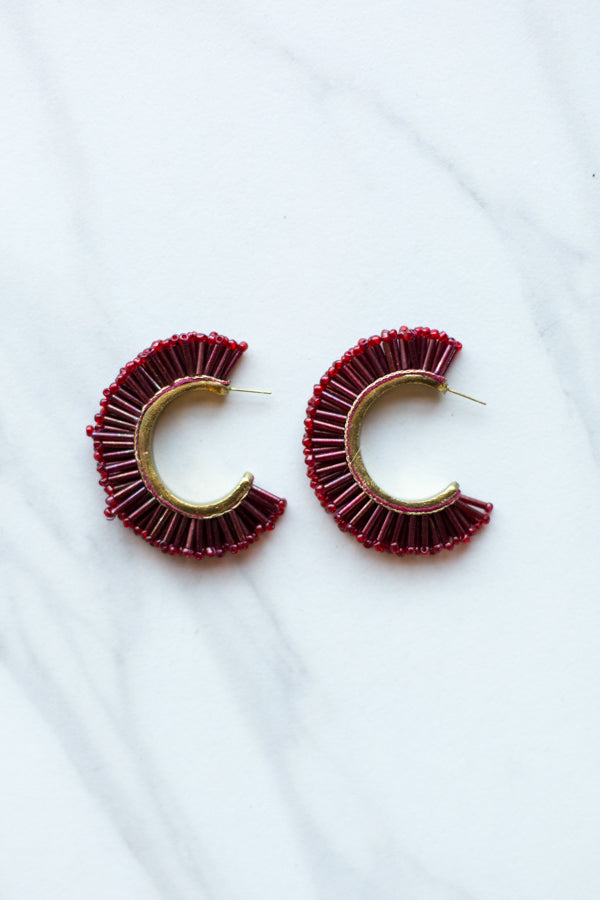 Caviar Beaded Earrings- Crimson
