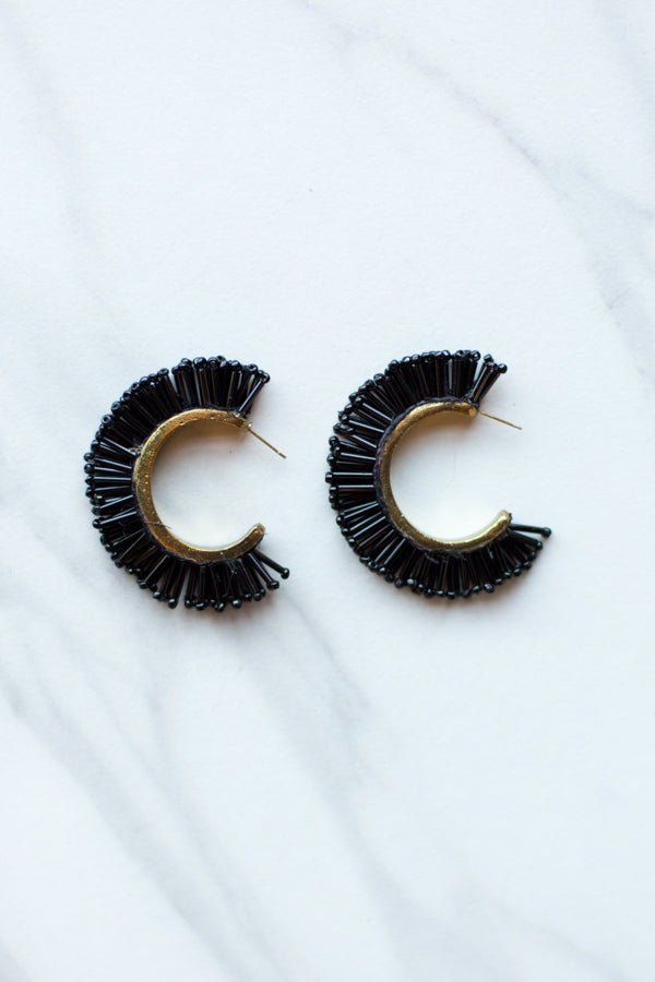 Caviar Beaded Earrings- Black