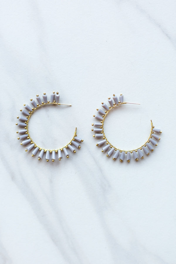 Clara Hoop Earrings- Grey