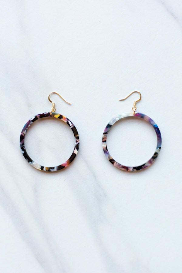 Acrylic Dangle Hoops- Multicolor