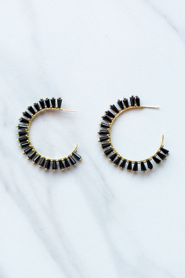 Clara Hoop Earrings- Black