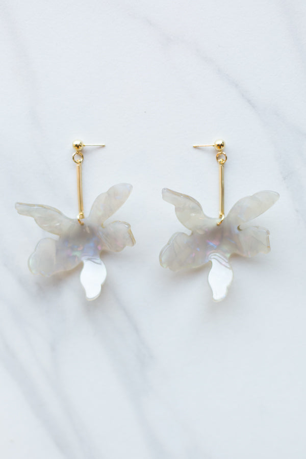 Acrylic Flower Drop Earrings- Taupe