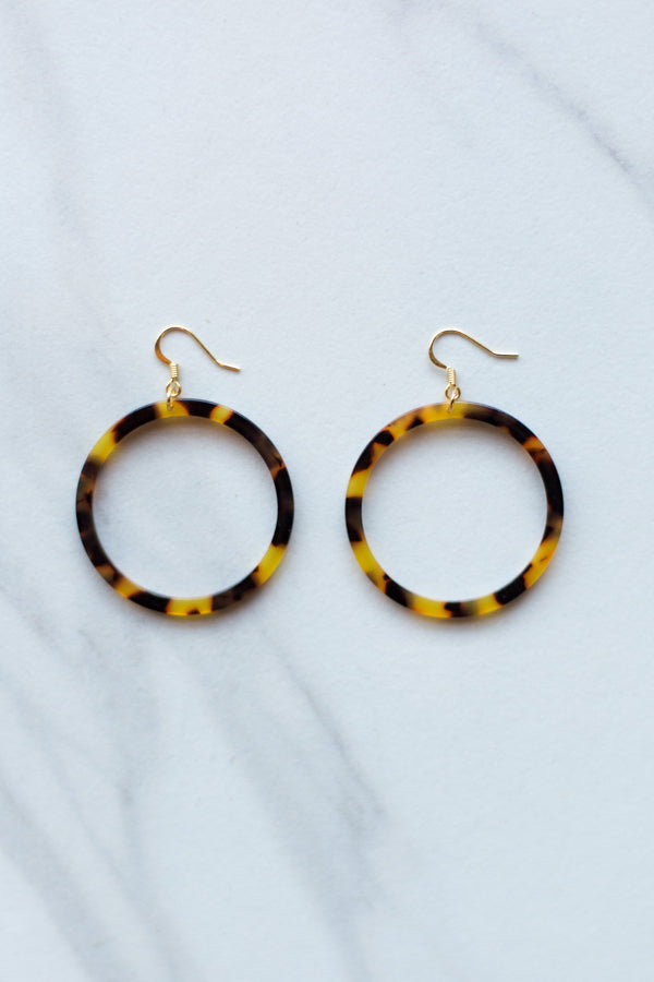 Acrylic Dangle Hoops- Tortoise