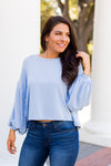 Perfectly Puffed Sleeves Top- Dusty Blue