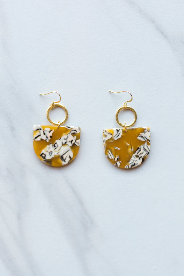 Keeping Tabs Earrings- Mustard Marble