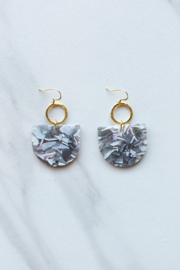 Keeping Tabs Earrings- Grey Marble