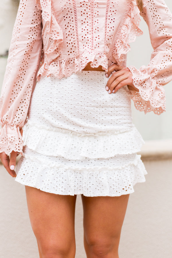 Four Seasons Eyelet Skirt- White