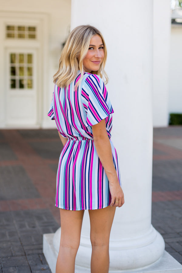 Color Pop Striped Romper