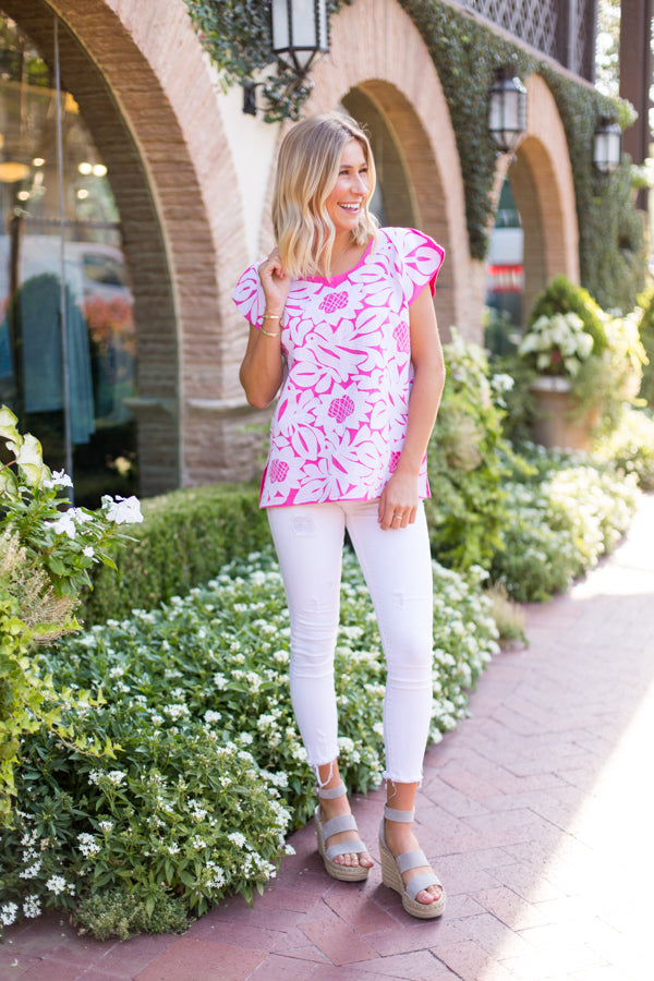 The Mia Top - Pink & White