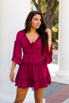 Pinot Ruffle Dress- Wine