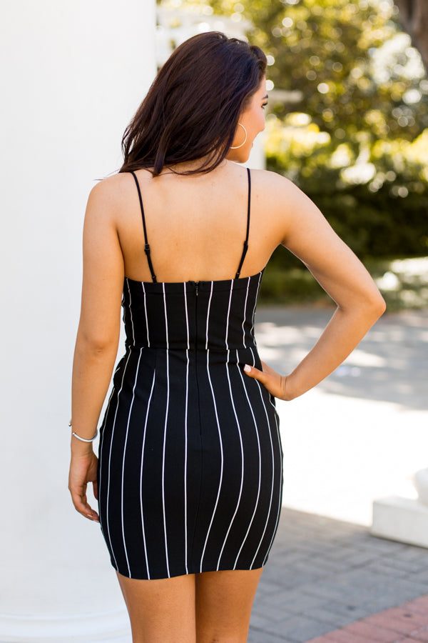 Pinstripe Party Dress- Black