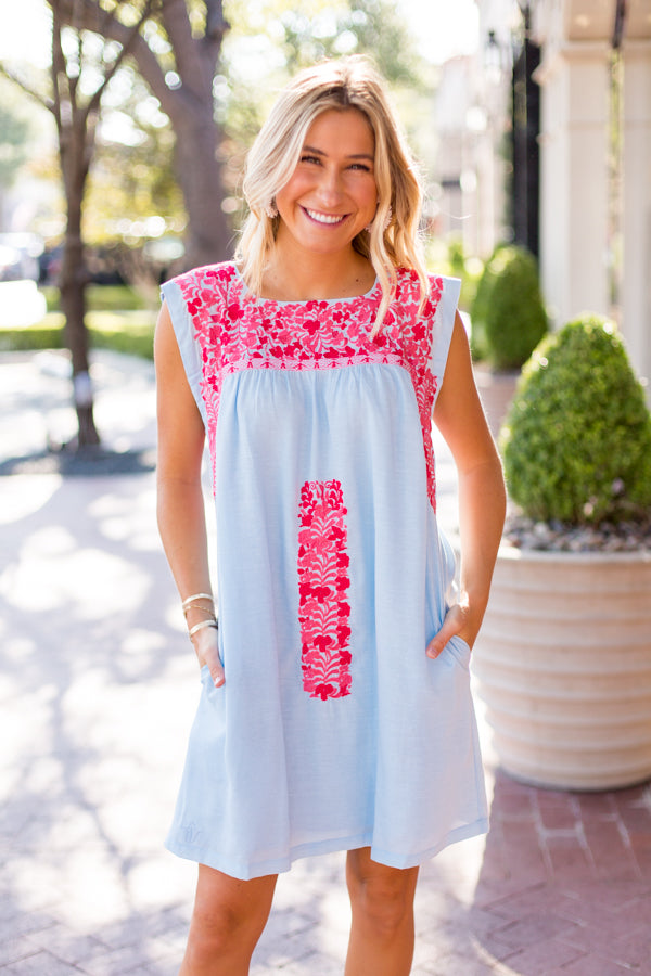 The Tara Dress - Light Blue