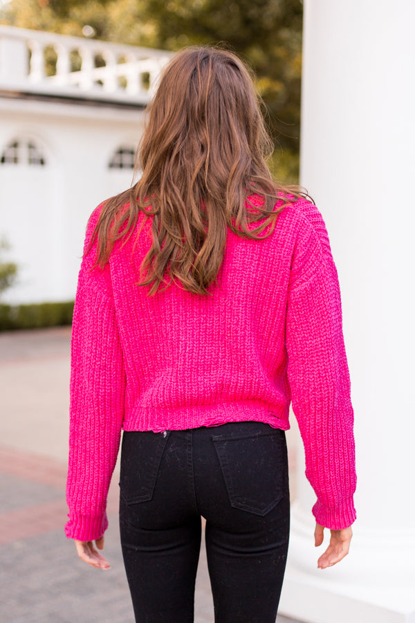 Neon Nights Crop Sweater - Fuschia