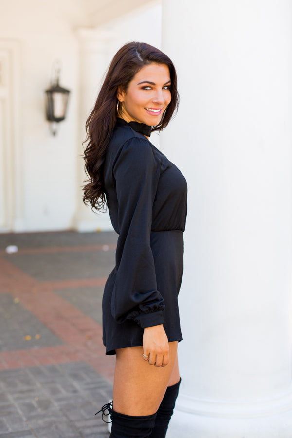Asymmetric Sleeve Romper- Black