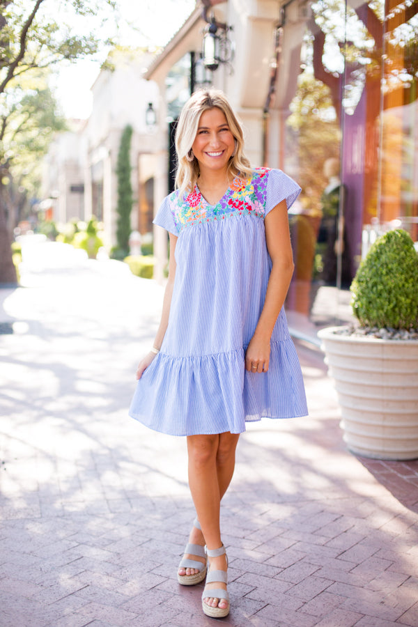 The Dana Dress - Blue Stripe