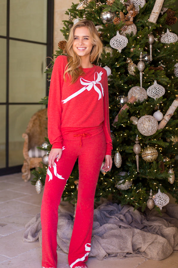 Wildfox Gift Wrapped Tennis Club Pants- Scarlet