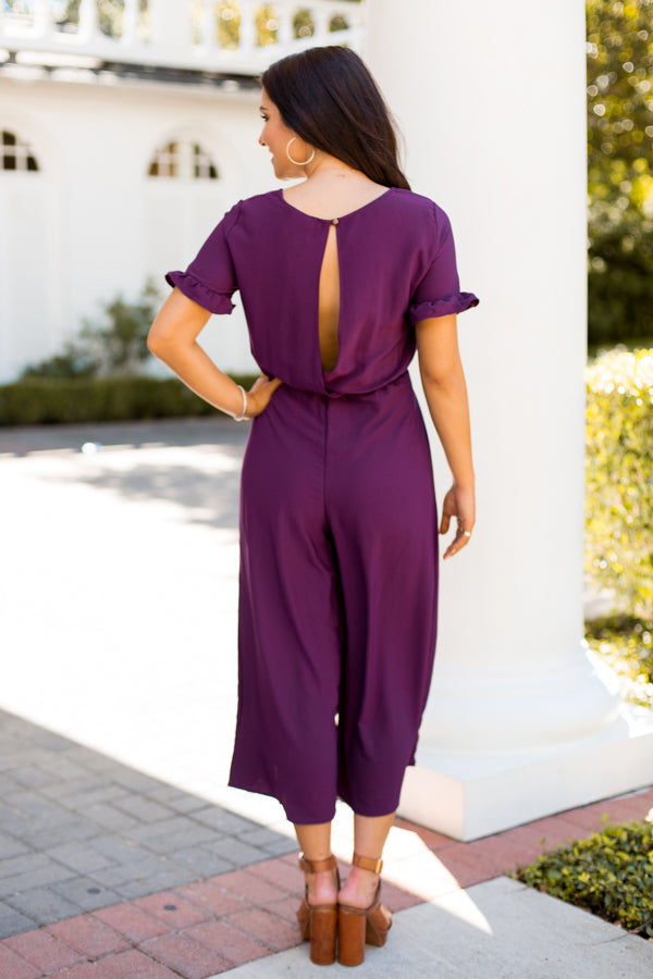 Perfect As A Plum Jumpsuit- Purple