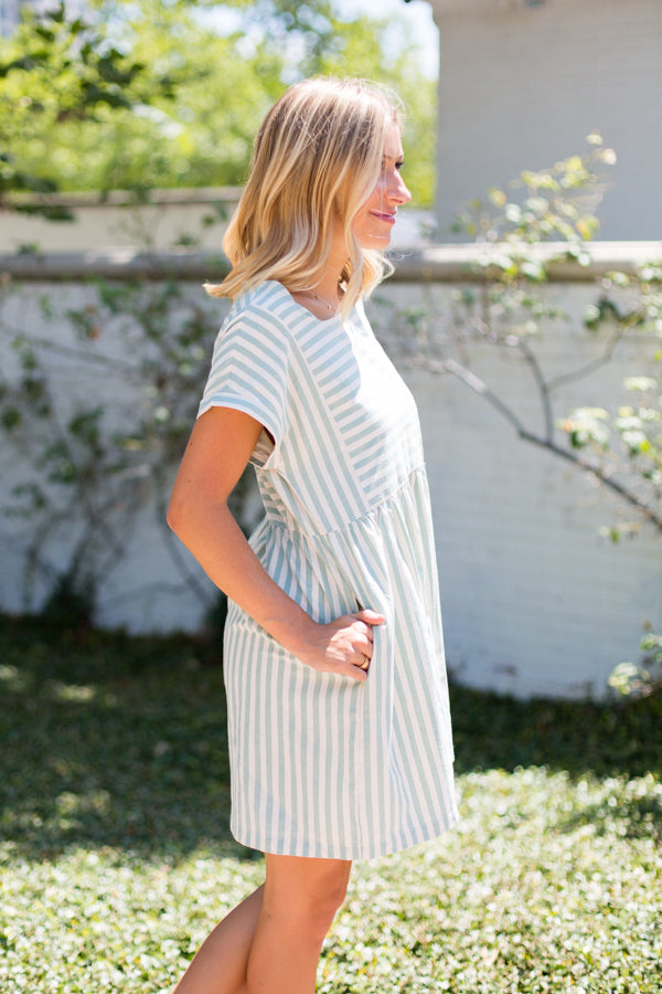 So Sweet Striped Dress- Sage
