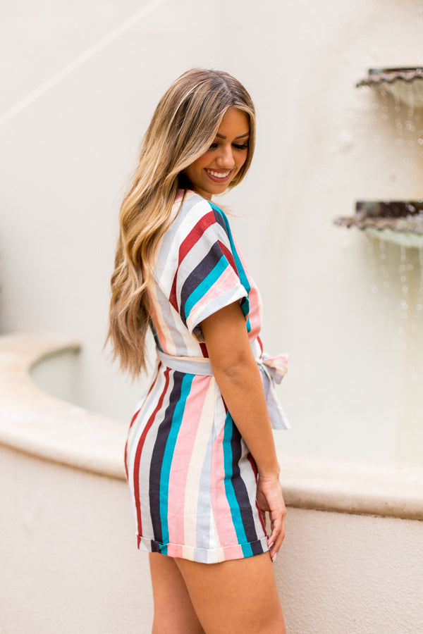 South Beach Striped Romper- Multicolor