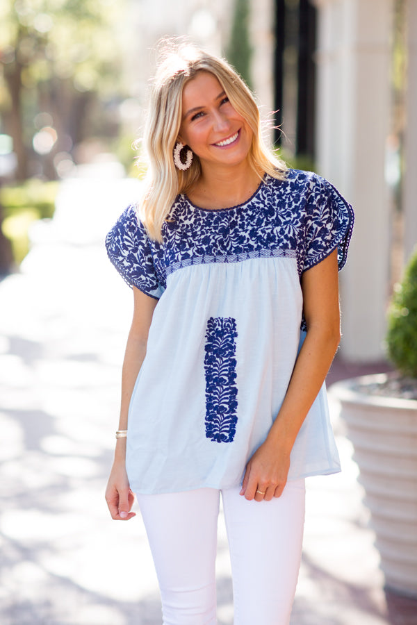 The Blakely Top - Light Blue