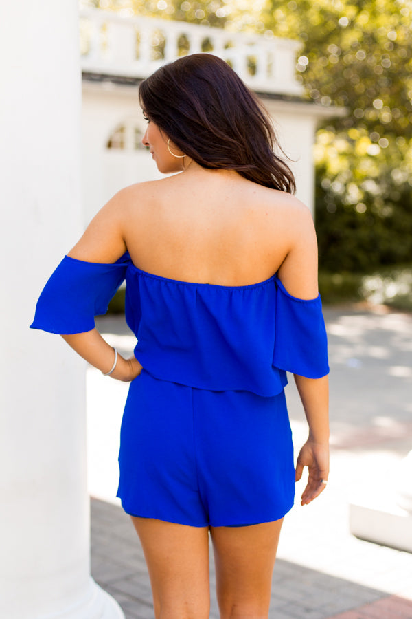 Blue As Can Be Romper- Royal Blue