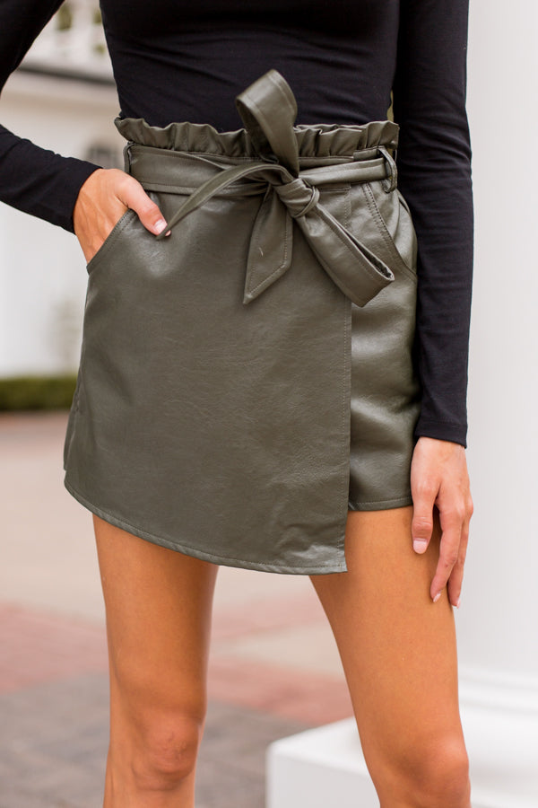 Paperbag Lunch Skort - Olive
