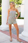 90's Girl Striped Romper