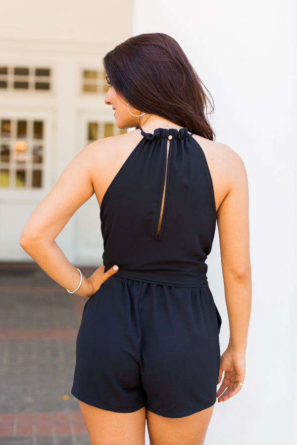 Ruffled Neck Romper- Black