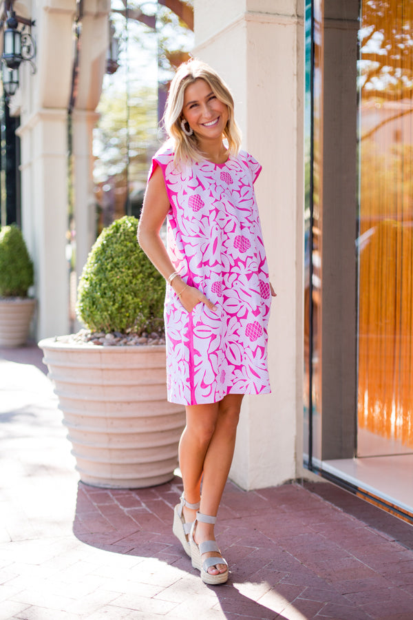 The Mia Dress - Pink & White