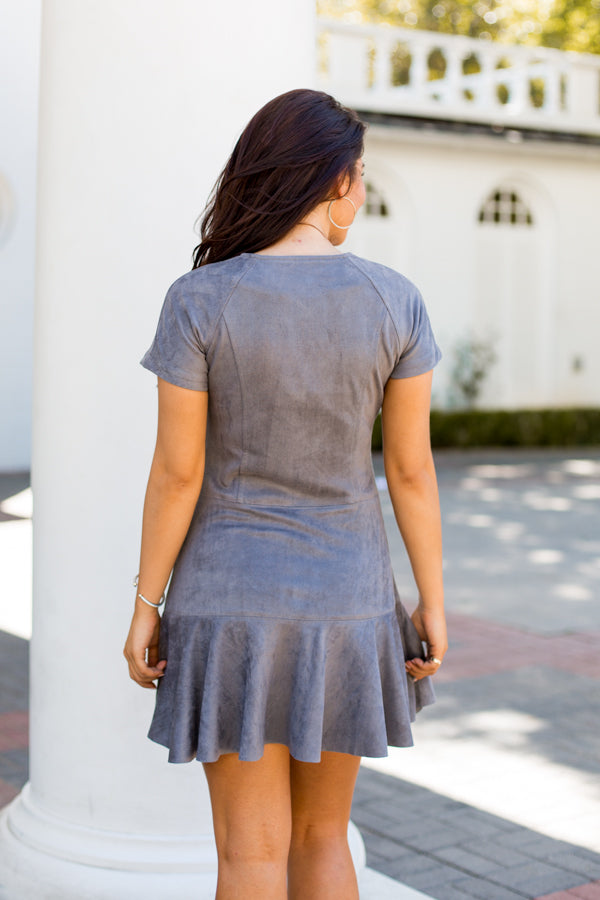 Swoon Worthy Suede Dress- Charcoal