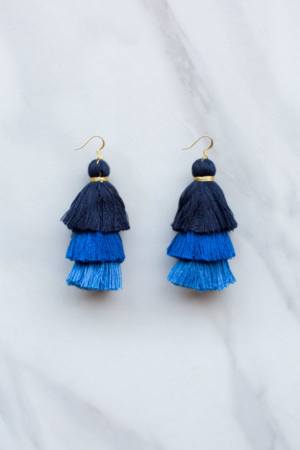 Ombre Tassel Earrings- Blue