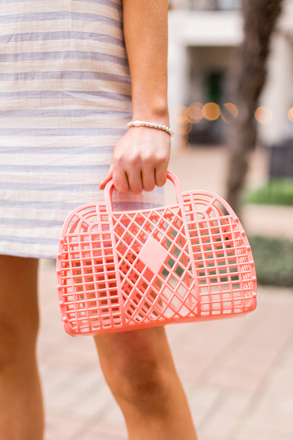 Small Sun Jelly Basket Bag- Peach