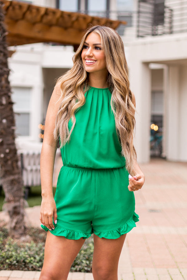 Rock The Shamrock Romper- Green