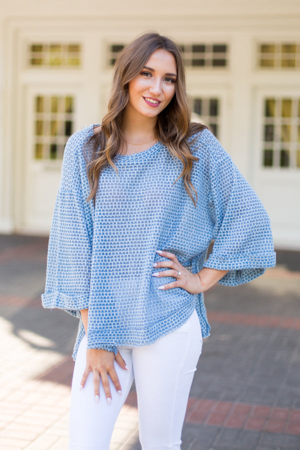 Cloudy Day Top- Misty Blue