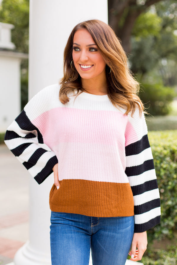 Spring Colorblock Sweater- Ivory