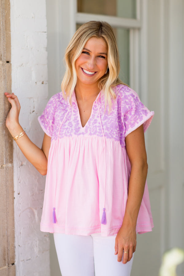 The Macey Top - Light Pink