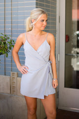 Ladylike Wrap Tie Romper - Light Blue