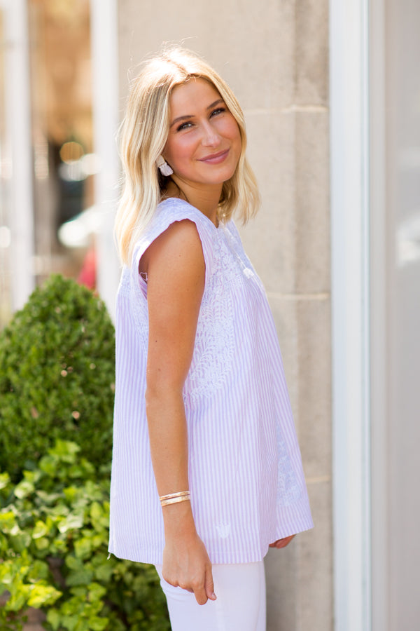 The Layla Top - Lavender Stripe