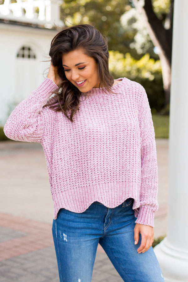 Plush Please Sweater- Blush
