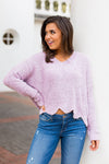 Sweetly Scalloped Sweater- Mauve