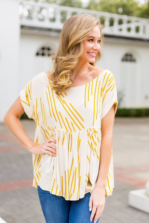 Brush Stroke Babydoll Top- Mustard