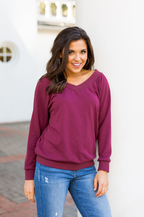 Wine Time Pullover- Burgundy