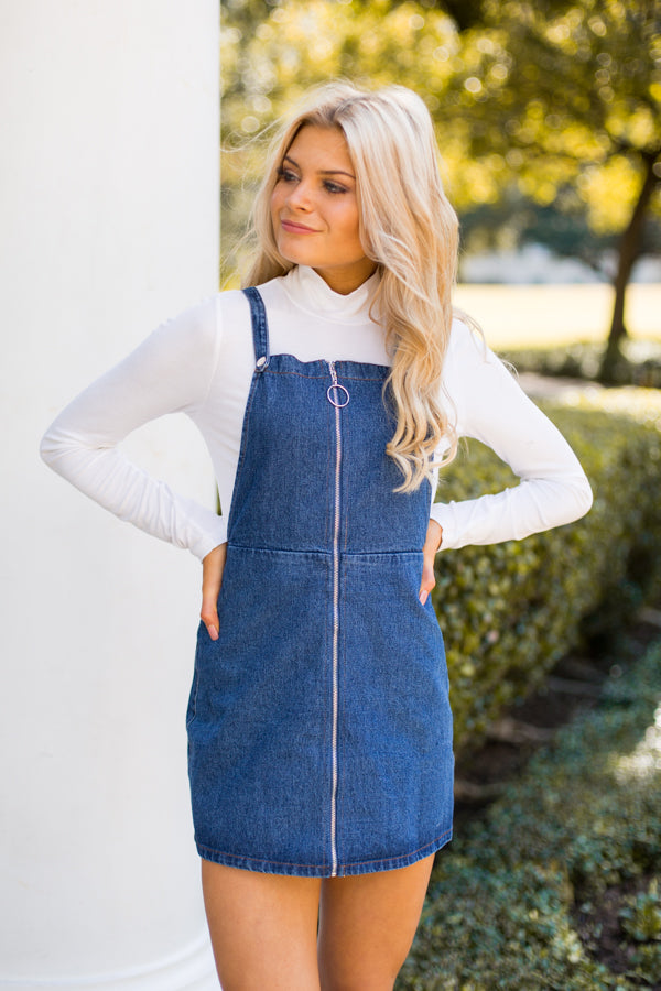 Farmer's Daughter Overall Dress- Denim