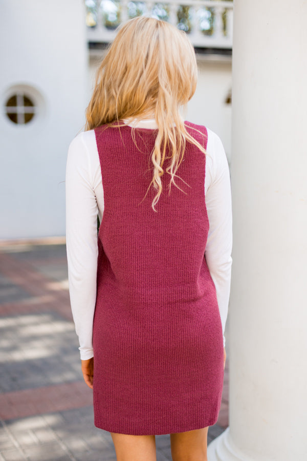 Over It Sweater Dress- Berry