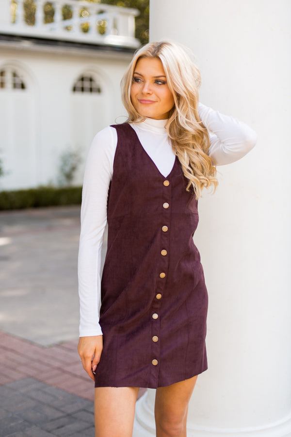 Sightseer Suede Dress- Wine