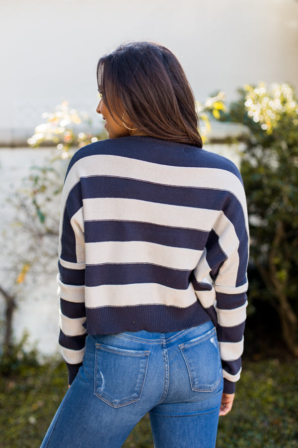 Nautical Striped Sweater- Navy