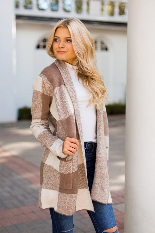 Check Mate Cardigan- Mocha