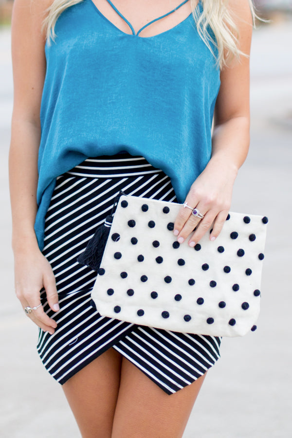 Pack Black! Pom Pom Clutch