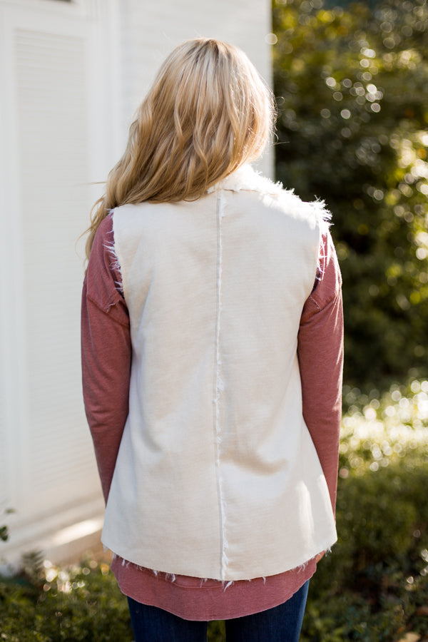 Sure Thing Suede Vest- Sand