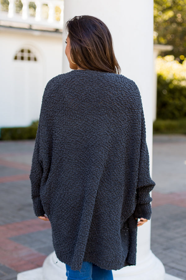 Stormy Nights Cardigan- Charcoal